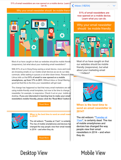 Email newsletter - mobile and desktop view