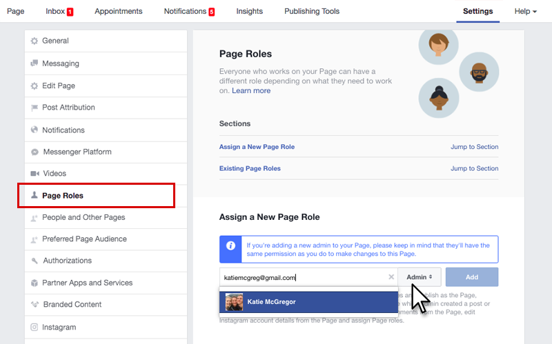 Add user to Facebook account - step 2
