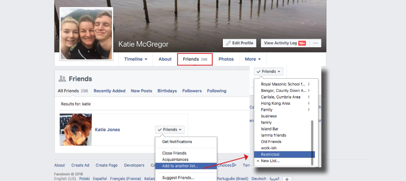 Facebook privacy - restrict friends